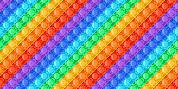 Cartoon regenbogen pop es spielzeug sprudelt nahtloses muster. antistress-sensorisches push-spielzeug. trendige entspannung pop zappeln spiel bunte vektortextur. helle unterhaltung oder hobby zum stressabbau