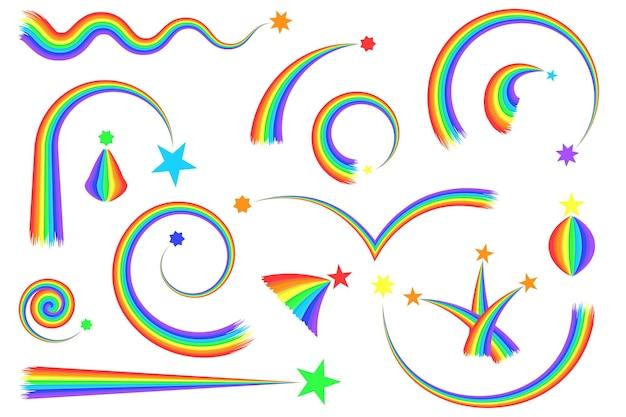 Cartoon-regenbogen und sterne eingestellt. bögen, kurven, runde und wellige regenbogenkometen. der schwanz einer sternschnuppe. isoliert auf weißem hintergrund. vektor-illustration.