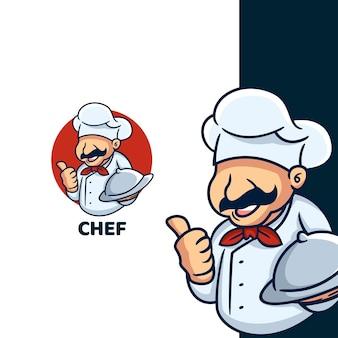 Cartoon retro chef logo