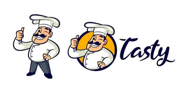 Cartoon retro vintage chef charakter maskottchen logo