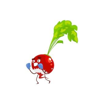 Cartoon-rettich-gemüse-sportler-pflanze in boxhandschuhen. vektor lustiger charakter beim kampftraining, sportübungen. gesundes essen, sportlicher lebensstil isoliert auf weißem hintergrund