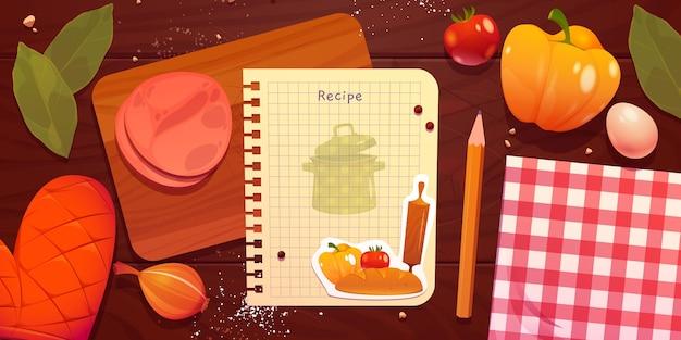 Cartoon-rezeptnotiz mit essen