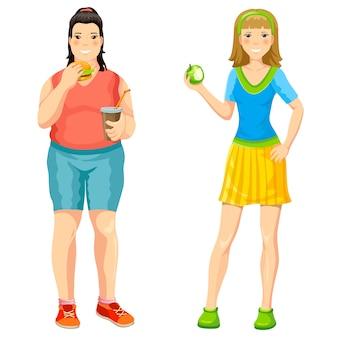 Cartoon richtige ernährung konzept
