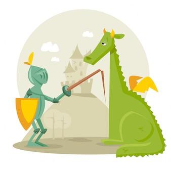 Cartoon ritter mit einem drachen