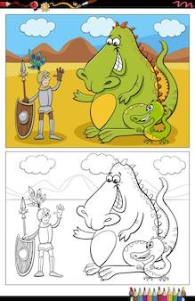 Cartoon ritter und drachen malbuch seite