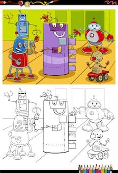 Cartoon roboter charaktere malbuch seite