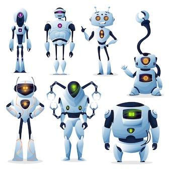 Cartoon-roboter, cyborg-androiden und roboter-droiden, maschinen mit robo-technologie