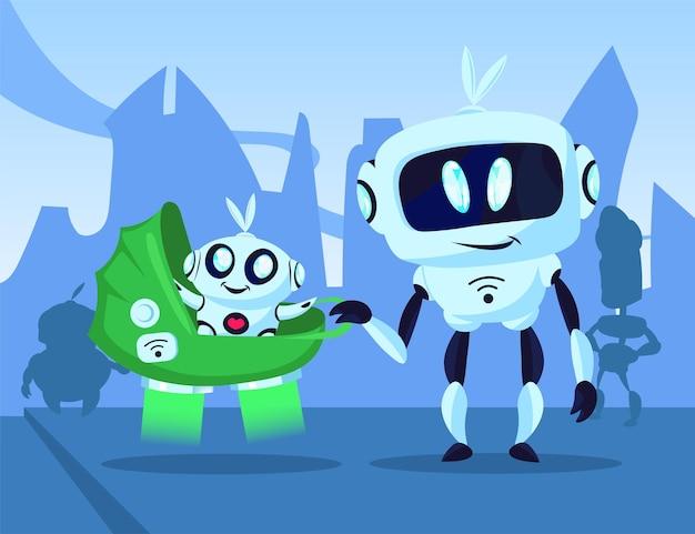Cartoon-roboter, der mit baby-cyborg in buggy-illustration geht