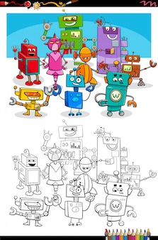 Cartoon roboter fantasie charaktere malbuch seite