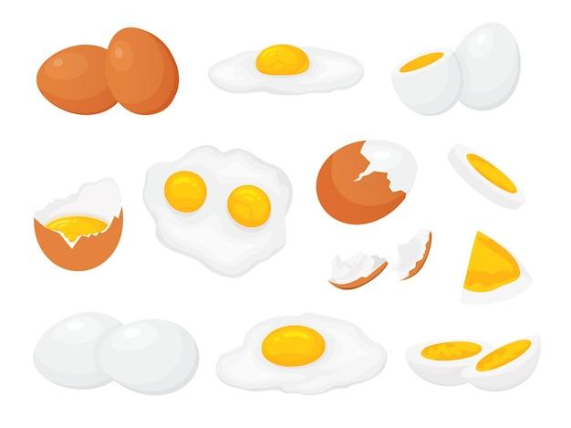 Cartoon rohe, gebrochene gekochte und gebratene hühnereier mit eigelb. frischer bauernhof in scheiben geschnittenes ei, gebrochene eierschale. gekochte eier für frühstücksvektorsatz. bioproduktzutat in verschiedenen formen