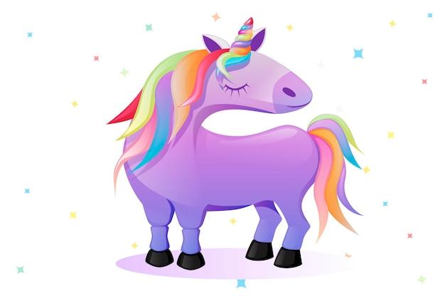 Cartoon rosa einhorn, süßes pferd auf einem hintergrund von sternen. vektor-illustration rosa baby-einhorn für ui-hintergrund.