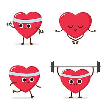 Cartoon rotes herz mit gewichtheben hanteln meditieren cardio-training sportaktivität