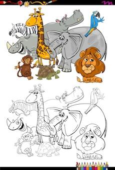 Cartoon safari tiere malbuch