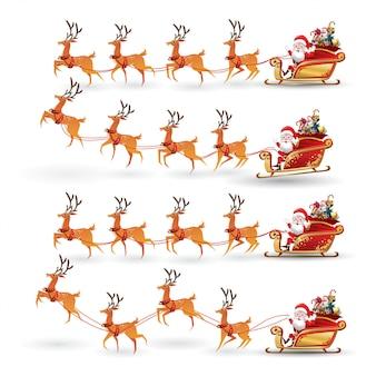 Cartoon-sammlung von weihnachten santa claus reitet rentierschlitten zu weihnachten