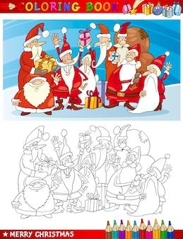 Cartoon santa claus gruppe zum ausmalen