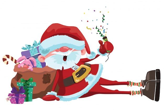 Cartoon santa claus sitzt mit einer tüte geschenke. weihnachtsillustration.