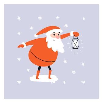 Cartoon santa hält eine laterne in der hand unter dem schnee