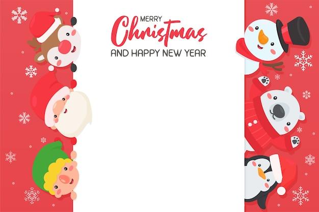 Cartoon santa und freunde kommen zusammen, um weihnachten zu feiern lassen sie platz für das hinzufügen von text.