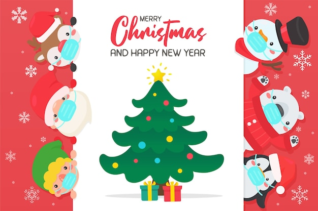 Cartoon santa und freunde tragen masken, um viren zu verhindern treffen sie sich, um weihnachten zu feiern