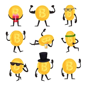 Cartoon-satz goldener münzzeichen mit bitcoin-zeichen in verschiedenen aktionen. kryptowährung oder virtuelles geldkonzept. flaches design für mobile app oder website