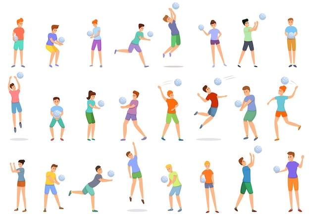 Cartoon-satz kinder, die volleyball-ikonen für webdesign spielen