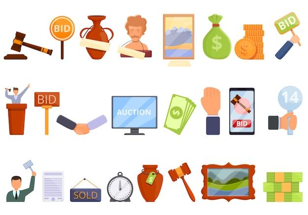 Cartoon-satz von auktionssymbolen