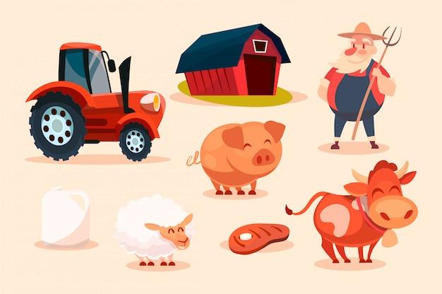 Cartoon-satz von farmcharakteren.