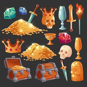 Cartoon-schatzkiste mit goldenen münzen, magischen kristalledelsteinen, menschlichem schädel in der krone, schwert im goldhaufen und becher mit kostbaren steinen, alte statue und brennende fackelvektorillustration, ikonensatz