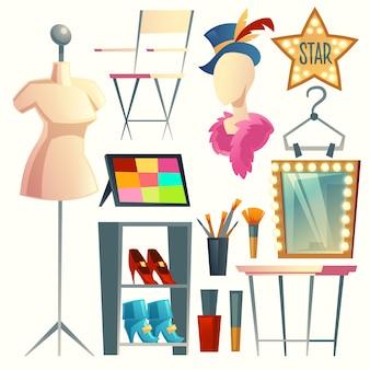Cartoon-schauspielerin, schauspieler-umkleidekabine. sammlung mit möbeln, kleidung und kleiderbügeln