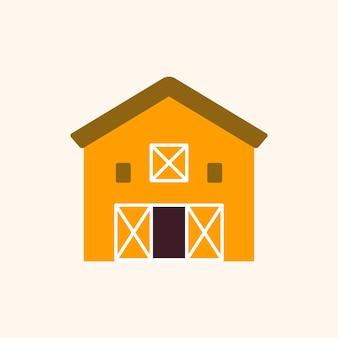 Cartoon-scheune-vektor-landwirtschaft-symbol
