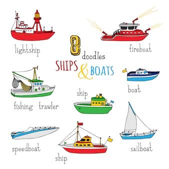 Cartoon schiffe und boote gesetzt. handgezeichnete seeschiffe. feuerschiff, feuerlöschboot, fischtrawler, schnellboot, segelboot und motorboot.