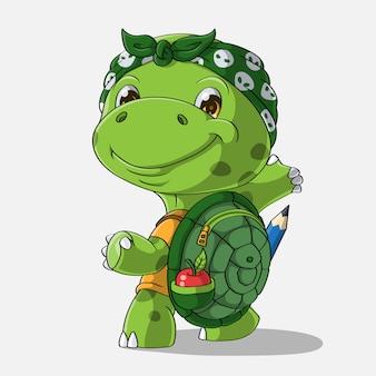 Cartoon-schildkröte geht zur schule, hand gezeichnet