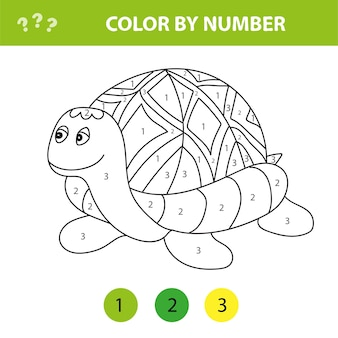 Cartoon-schildkröte. malen nach zahlen lernspiel für kinder. illustration für schulkind und vorschule