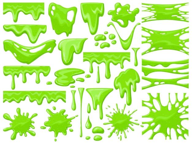 Cartoon-schleim tropft. grüne klebrige außerirdische schleimklumpen, gruseliger halloween-toxischer schleim, der vektorillustrationssatz tropft. tropfender grüner karikaturschleim. tropfen und blob, schleimgrüne flüssigkeit, giftige spritzer