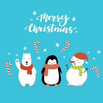 Cartoon schneemann und pinguin charakter