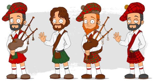 Cartoon schottisch mit dudelsack-zeichensatz