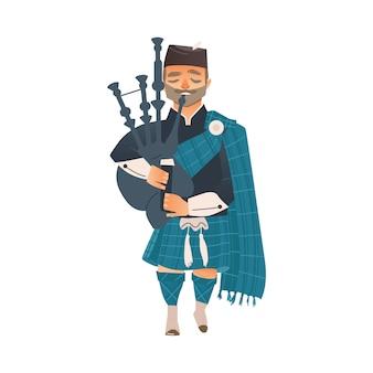 Cartoon schottischer dudelsackspieler isoliert