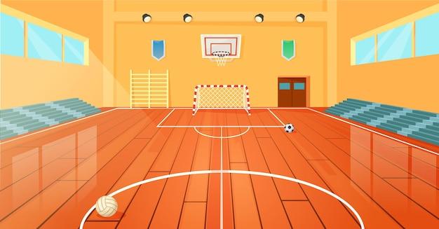 Cartoon-schulbasketball-fitnessstudio-innensportplatz leere universitätsturnhalle mit ausrüstungsvektor