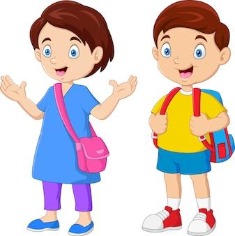 Cartoon schulkinder mit rucksäcken