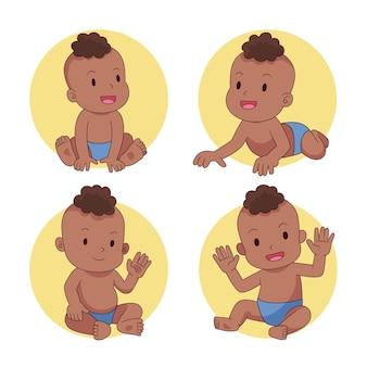 Cartoon schwarze babysammlung