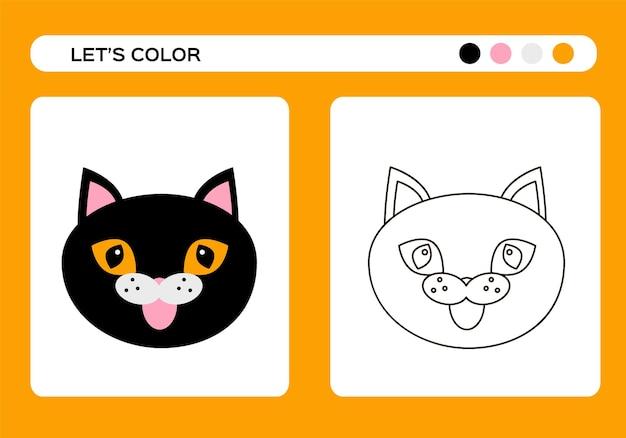 Cartoon-schwarze katze. mit katzenfarbbuch. malunterricht für kinder. fröhliches halloween-spiel. vektor
