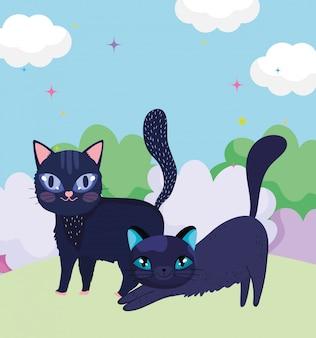 Cartoon schwarze katzen in gras naturlandschaft haustiere