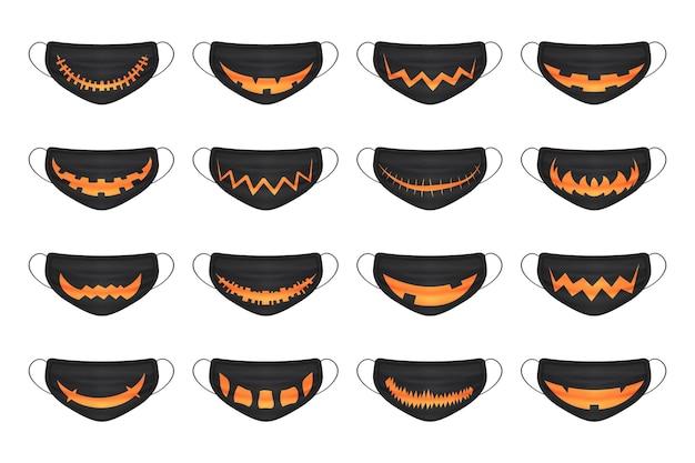 Cartoon schwarzer halloween-smiley-maskenkürbis für happy halloween coronavirus-gesichtsschutz