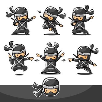 Cartoon schwarzer kleiner ninja mit sechs neuen posen, die bereit sind, mit einem pfeil anzugreifen