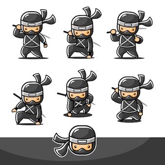 Cartoon schwarzer kleiner ninja mit sechs neuen posen und bereit zum angriff