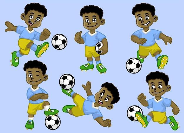Cartoon schwarzes kinderfußballspieler-set