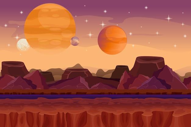 Cartoon sci-fi-spiel nahtlosen hintergrund. außerirdische planetenlandschaft. berg und krater, visualisierungsphantasie, naturblick