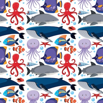Cartoon sea life nahtlose muster mit meerestieren