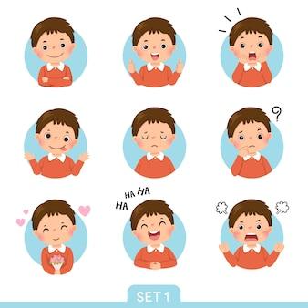Cartoon-set eines kleinen jungen in verschiedenen haltungen mit verschiedenen emotionen. satz 1 von 3.