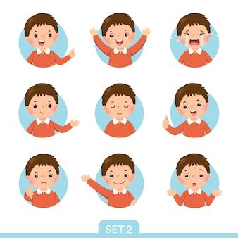 Cartoon-set eines kleinen jungen in verschiedenen haltungen mit verschiedenen emotionen. satz 2 von 3.